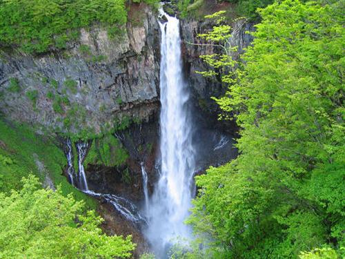 新緑に包まれた華厳の滝
