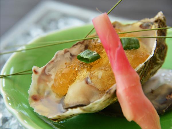 蒸し岩牡蠣 ポン酢ジュレ 谷中生姜 練り塩