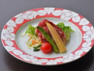 夏料理:【強肴】霧降高原牛シャブシャブ 千野菜 ヤングコーン ミニトマト