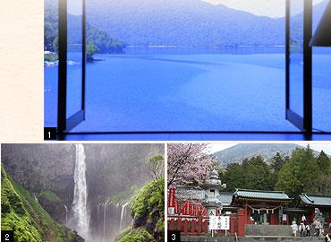 1.客室からの眺め 2.華厳ノ滝 3.二荒山神社(中宮祠)